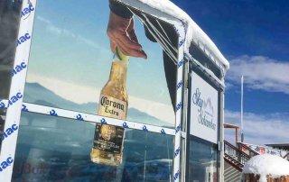 bedruckte lochfolie schirmbar sky bar, schattberg, saalbach hinterglem