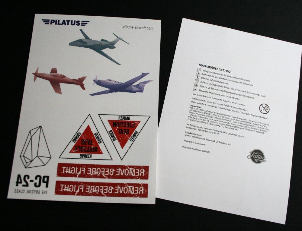 Temporäre Fake Tattoos Pilatus Aircraft