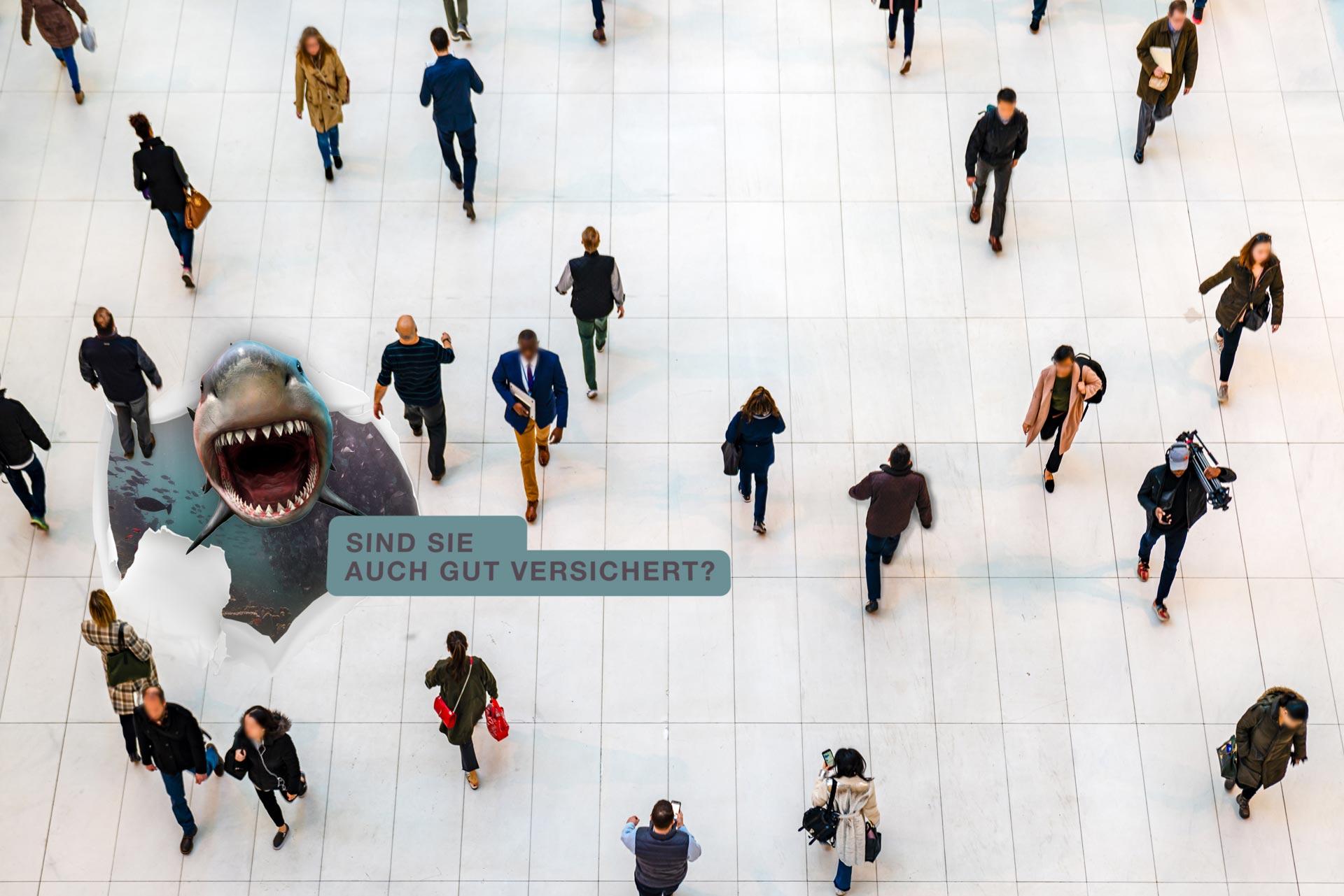 Bodenaufkleber Werbekampagne am Boden